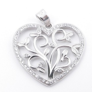 59007 RHODIUM PLATED SILVER AND CUBIC ZIRCON 21 X 23 MM PENDANT IN SHAPE OF HEART