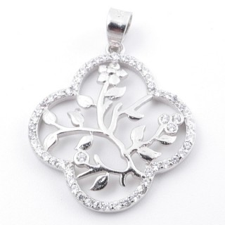 59008 RHODIUM PLATED SILVER AND CUBIC ZIRCON 24 X 22 MM PENDANT IN SHAPE OF FLOWER