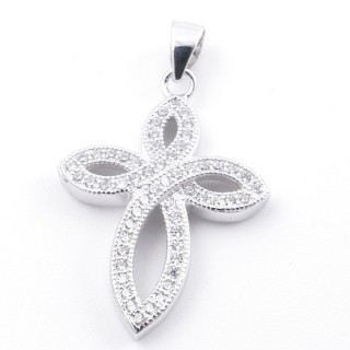 59011 RHODIUM PLATED SILVER AND CUBIC ZIRCON 26 X 19 MM PENDANT IN SHAPE OF CROSS