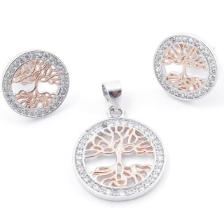 59014 SET OF 17 MM PENDANT AND 13 MM EARRINGS IN RHODIUM PLATED SILVER WITH CUBIC ZIRCONS