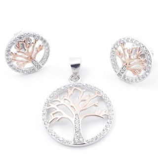 59015 SET OF 18 MM PENDANT AND 12 MM EARRINGS IN RHODIUM PLATED SILVER WITH CUBIC ZIRCONS