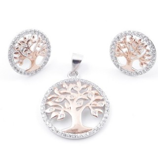 59016 SET OF 19 MM PENDANT AND 14 MM EARRINGS IN RHODIUM PLATED SILVER WITH CUBIC ZIRCONS