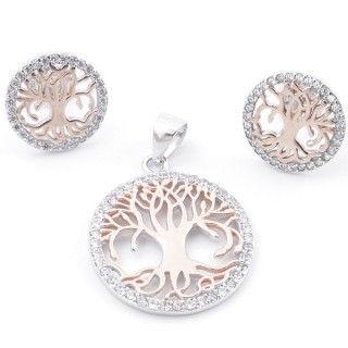 59017 SET OF 19 MM PENDANT AND 12 MM EARRINGS IN RHODIUM PLATED SILVER WITH CUBIC ZIRCONS