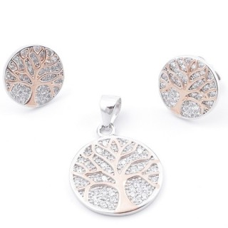 59019 SET OF 16 MM PENDANT AND 11 MM EARRINGS IN RHODIUM PLATED SILVER WITH CUBIC ZIRCONS