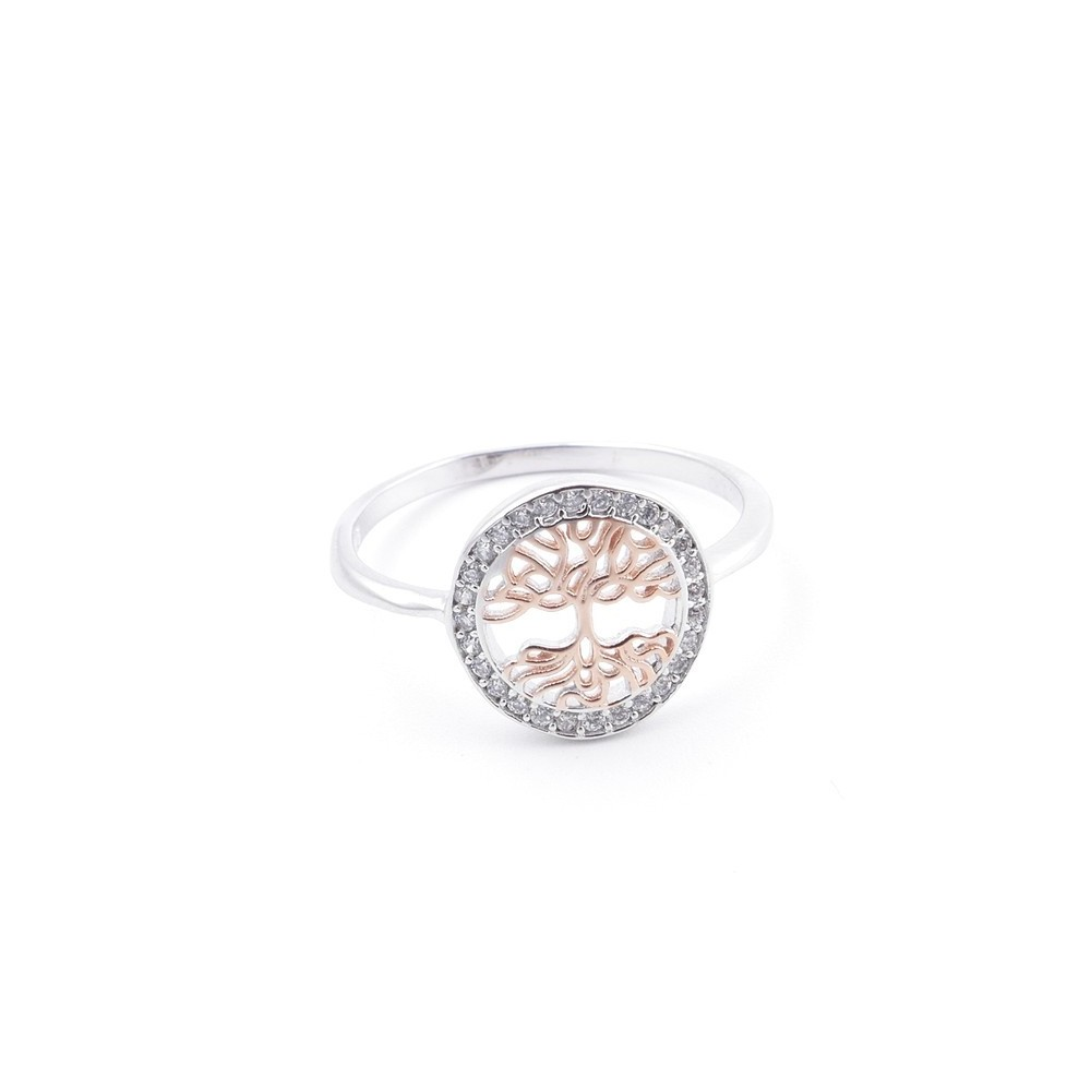 59020-16 TREE OF LIFE SIZE 16 RHODIUM PLATED SILVER WITH CUBIC ZIRCONIA RING