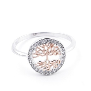 59020-18 TREE OF LIFE SIZE 18 RHODIUM PLATED SILVER WITH CUBIC ZIRCONIA RING