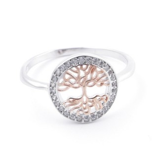 59020-19 TREE OF LIFE SIZE 19 RHODIUM PLATED SILVER WITH CUBIC ZIRCONIA RING