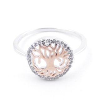 59023-16 TREE OF LIFE SIZE 16 RHODIUM PLATED SILVER WITH CUBIC ZIRCONIA RING