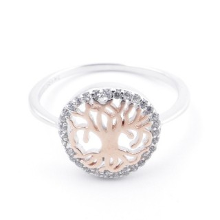 59023-17 TREE OF LIFE SIZE 17 RHODIUM PLATED SILVER WITH CUBIC ZIRCONIA RING