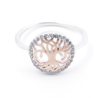 59023-18 TREE OF LIFE SIZE 18 RHODIUM PLATED SILVER WITH CUBIC ZIRCONIA RING