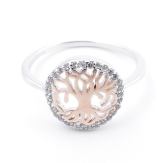 59023-19 TREE OF LIFE SIZE 19 RHODIUM PLATED SILVER WITH CUBIC ZIRCONIA RING