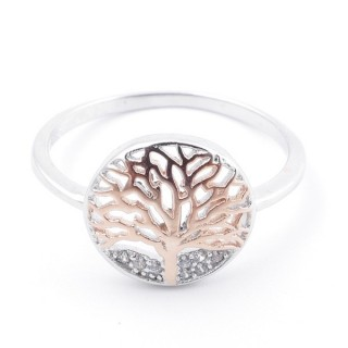 59024-16 TREE OF LIFE SIZE 16 RHODIUM PLATED SILVER WITH CUBIC ZIRCONIA RING