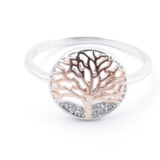 59024-19 TREE OF LIFE SIZE 19 RHODIUM PLATED SILVER WITH CUBIC ZIRCONIA RING