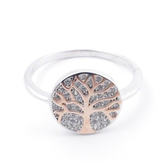 59025-16 TREE OF LIFE SIZE 16 RHODIUM PLATED SILVER WITH CUBIC ZIRCONIA RING