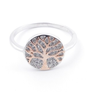 59025-17 TREE OF LIFE SIZE 17 RHODIUM PLATED SILVER WITH CUBIC ZIRCONIA RING