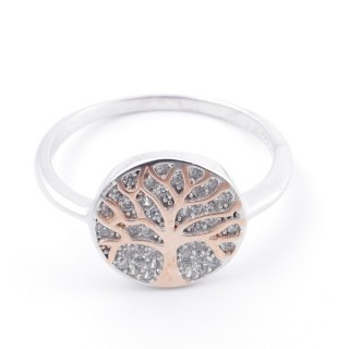 59025-18 TREE OF LIFE SIZE 18 RHODIUM PLATED SILVER WITH CUBIC ZIRCONIA RING