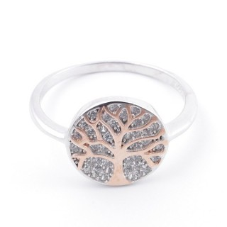 59025-19 TREE OF LIFE SIZE 19 RHODIUM PLATED SILVER WITH CUBIC ZIRCONIA RING