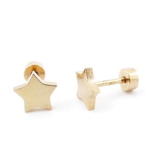38534-27 GOLD STAINLESS STEEL EARRINGS WITH SCREW BACKS