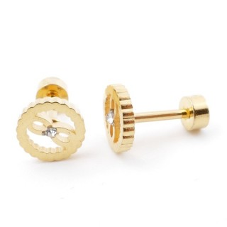 38534-28 GOLD STAINLESS STEEL EARRINGS WITH SCREW BACKS