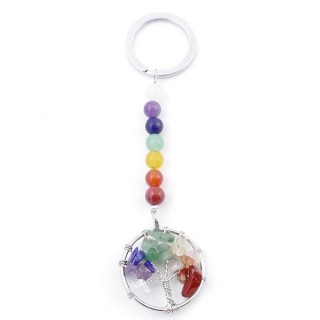 49509 METAL KEYCHAIN WITH 7 CHAKRA CHIP STONES