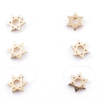 31203-79 PACK OF 3 PAIRS OF GOLD COLOURED STAINLESS STEEL POST EARRINGS