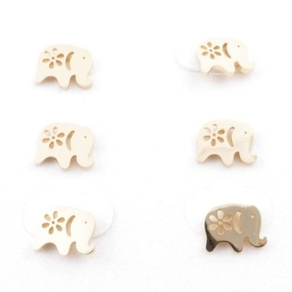 31203-82 PACK OF 3 PAIRS OF GOLD COLOURED STAINLESS STEEL POST EARRINGS