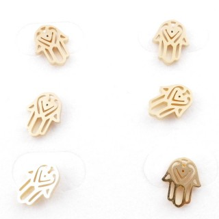 31203-85 PACK OF 3 PAIRS OF GOLD COLOURED STAINLESS STEEL POST EARRINGS