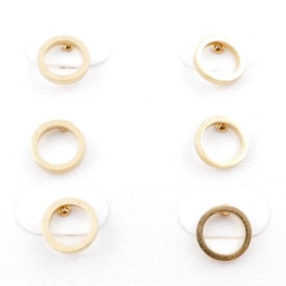 31203-86 PACK OF 3 PAIRS OF GOLD COLOURED STAINLESS STEEL POST EARRINGS