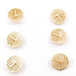 31203-88 PACK OF 3 PAIRS OF GOLD COLOURED STAINLESS STEEL POST EARRINGS