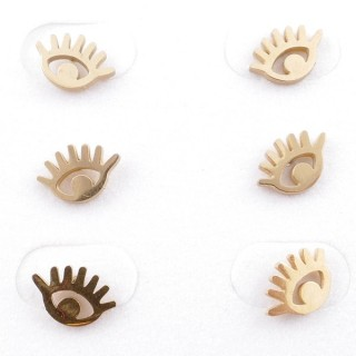 31203-89 PACK OF 3 PAIRS OF GOLD COLOURED STAINLESS STEEL POST EARRINGS