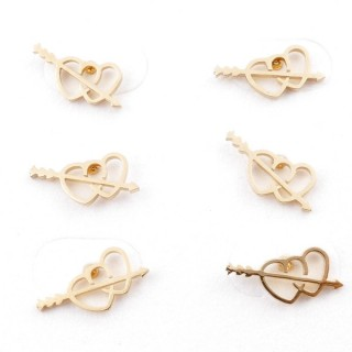 31203-93 PACK OF 3 PAIRS OF GOLD COLOURED STAINLESS STEEL POST EARRINGS
