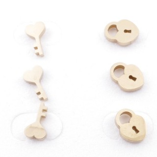 49626-02 PACK OF 3 PAIRS OF UNEQUAL STAINLESS STEEL POST EARRINGS