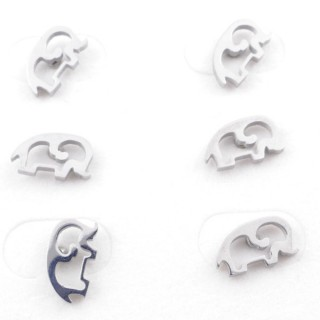49619-01 PACK OF 3 PAIRS OF SILVER COLOURED STAINLESS STEEL EARRINGS