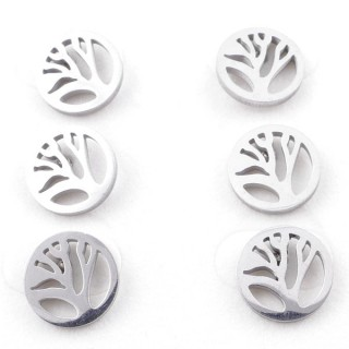49619-02 PACK OF 3 PAIRS OF SILVER COLOURED STAINLESS STEEL EARRINGS