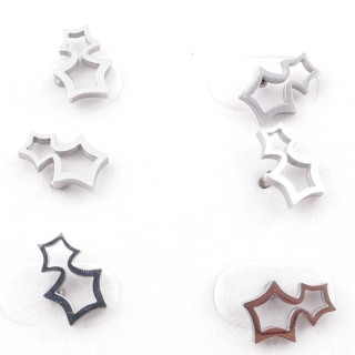 49619-03 PACK OF 3 PAIRS OF SILVER COLOURED STAINLESS STEEL EARRINGS