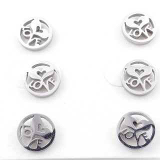 49619-04 PACK OF 3 PAIRS OF SILVER COLOURED STAINLESS STEEL EARRINGS