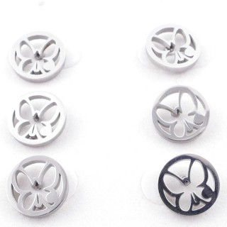 49619-05 PACK OF 3 PAIRS OF SILVER COLOURED STAINLESS STEEL EARRINGS