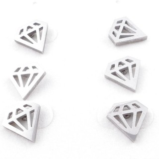 49619-09 PACK OF 3 PAIRS OF SILVER COLOURED STAINLESS STEEL EARRINGS