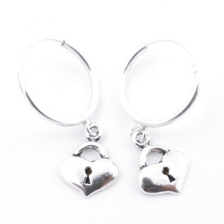51280 STERLING SILVER 16 MM LOOP EARRINGS WITH HEART CHARM