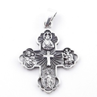 50277 STERLING SILVER 33 X 27 MM IN SHAPE OF CROSS WITH SAINTS