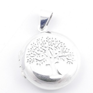 52191 SILVER 21 MM LOCKET FOR PHOTOS WITH TREE OF LIFE SYMBOL
