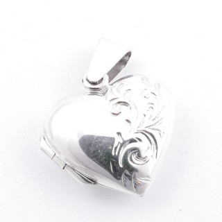 52200 SILVER 19 X 17 MM LOCKET FOR PHOTOS IN HEART SHAPE