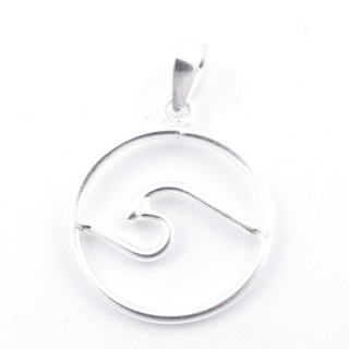 52198 16 MM DIAMETER STERLING SILVER PENDANT WITH WAVE SYMBOL