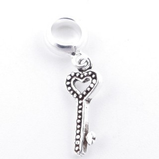 51289 STERLING SILVER 16 X 6 MM KEY SHAPED BRACELET HANGING CHARM