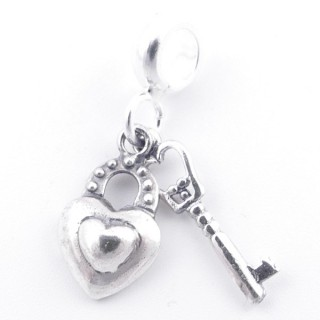 51287 STERLING SILVER 19 X 9 MM LOCK AND KEY CHARM FOR BRACELET
