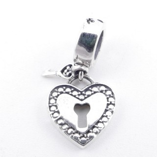 51285 STERLING SILVER BRACELET CHARM 11 X 10 MM WITH HEART AND KEY