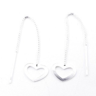 52210-04 STERLING SILVER CHAIN AND HEART EARRINGS