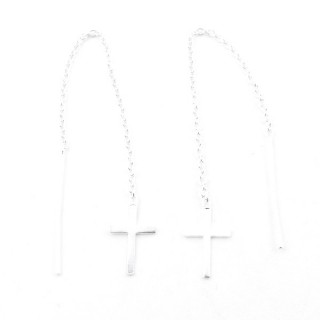 52210-01 STERLING SILVER CHAIN AND CROSS EARRINGS