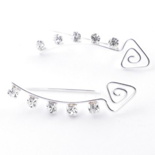 5214238 STERLING SILVER CLIMBER DESIGN EARRINGS 6 X 22 MM