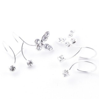 5214003 CUFF DESIGN SILVER EARRINGS WITH GLASS STONES 21 X 14 MM